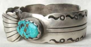 Turquoise & Sterling Silver WATCH CUFF Bracelet~Native American