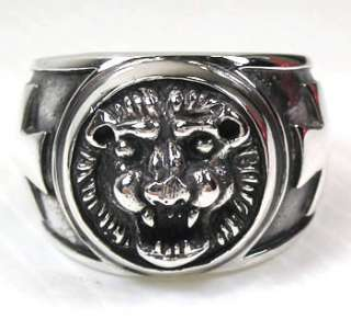 LION CROSS 925 STERLING SILVER MENS BAND RING Sz 13 NEW