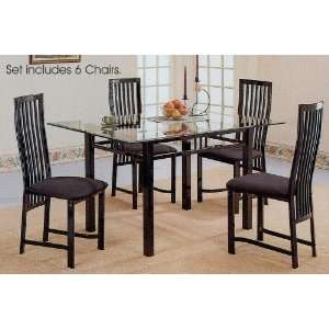 Black Metal Glass Top Dining Room Table Chairs Set Furniture & Decor