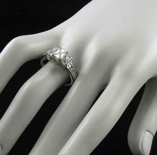 MAGICAL ESTATE INVISIBLE SET 2CT TRILLION DIAMOND THREE STONE RING 14K