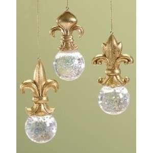 Pack of 12 Fleur de Lis Glitterdome Snow Globe Christmas Ornaments