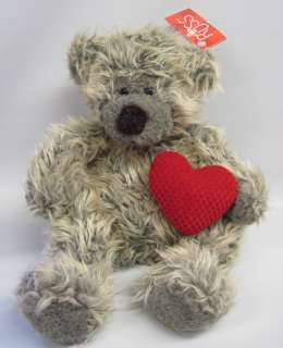 SMOOCHES Grey Tan TEDDY BEAR 12 Russ Berrie PLUSH