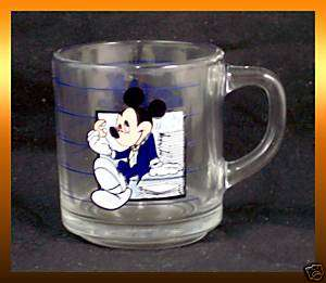 Disneys MICKEY MOUSE Break Time In The Office GLASS Coffee CUP Mug 8