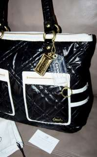 COACH Poppy SKI BUNNY GLAM Tote Shoulder Bag Quilted Black Ice/White