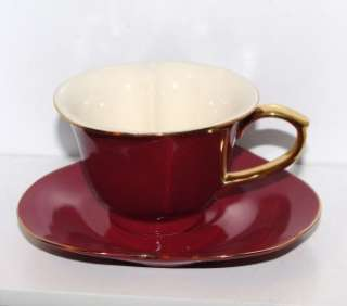RED & Gold Heart Shaped Porcelain Tea Coffee Cup MOTHERS DAY BIRTHDAY
