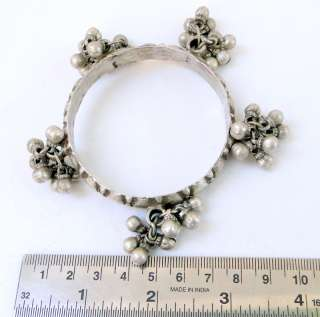 ANTIQUE TRIBAL sterling SILVER BRACELET BANGLE bells