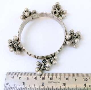 ANTIQUE TRIBAL sterling SILVER BRACELET BANGLE bells