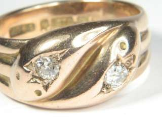 SUPER ANTIQUE ENGLISH 9K ROSE GOLD DIAMOND SNAKE RING c1934