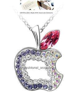 Swarovski Crystal Charming Apple Cute Pendant Necklace