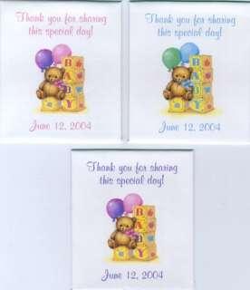 18 TEDDY BEAR W/BLOCKS BABY SHOWER TEA BAG WRAPPERS
