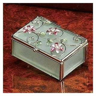 Glass Jewelry Trinket Box with Purple Butterfly & Flowers