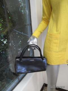 Gucci Black Leather Beige Stitched Top Handle Small Bag