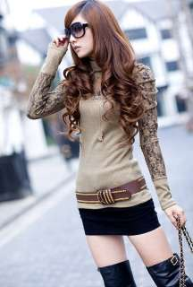 Womens High Collar Lace Puff Sleeve Lady Tops T shirt 4863#