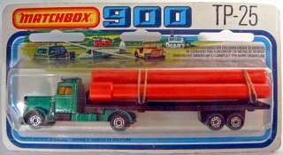 Matchbox TP25 Peterbilt Pipe Truck rare black trailer