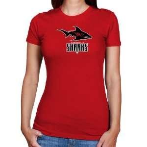 AFL Jacksonville Sharks Ladies Red Team Logo Slim Fit T shirt