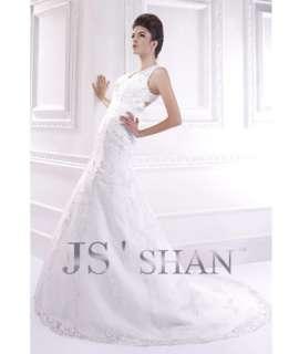 Embroidery Organza Mermaid Beaded Bridal Gown Wedding Dress,US4 UK8