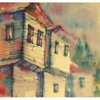 IMPRESSIONIST WATERCOLOR & INK PAINTING LANDSCAPE