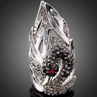 Womens Girls Rhinestone Onyx Swarovski Crystal Swan White Gold GP