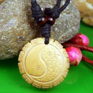 Ox Bone Carved Round 8 diagram shaped Necklace Pendant