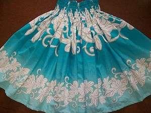 AQUA OCEAN BLUE TURQUOISE HAWAIIAN PAU PAU HULA DANCE SKIRT