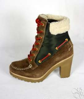 Sperry Top Sider Trinity Dark Brown / Green Lug Sole Womens Boots New