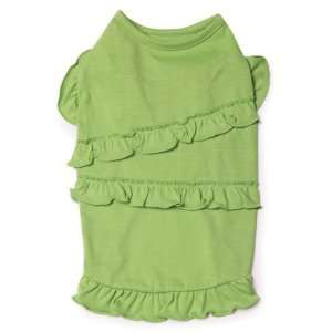 Polyester and Cotton 10 Inch Ruffle Dog Tank, X Small, Parrot Green