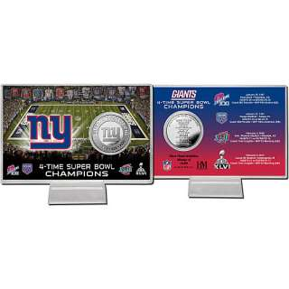 HIghland Mint New York Giants 4 Time Super Bowl Champions Coin Card