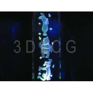 Disney Piglet Pooh Bear Tigger 3D Laser Etched Crystal 6