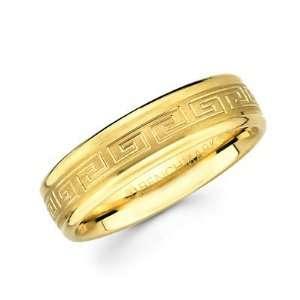 Solid 14k Yellow Gold Ladies Mens Greek Design Satin Wedding Ring Band