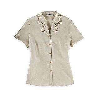 Embroidered Linen Short Sleeve  Sag Harbor Clothing Womens Tops