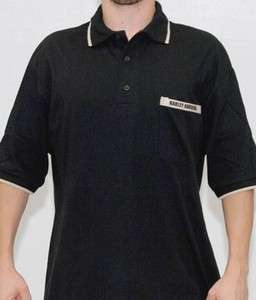 Harley Davidson Mens Block Stripe Black 3 Button Polo Shirt w/ Pocket