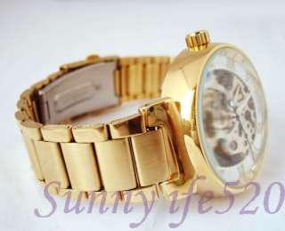 Luxury Gold Steel Unisex Men Lady Auto Mechanical Watch