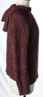 Free People Burgundy Red Purple Cozy Mohair Hood Boucle Sweater Medium
