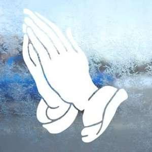 PRAYING HANDS CHRISTIAN White Decal Laptop Window White