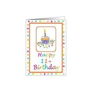 11 Years Old Lit Candle Cupcake Birthday Party Invitation