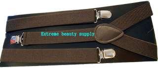 brown girl BOY man suspenders clip on Brace Elastic mens Ladies Plain