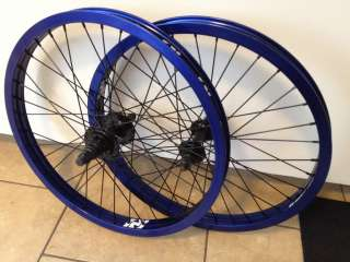 WHEEL SET WHEELS BLUE BLACK FRONT BACK 9 TOOTH PROFILE FIT BMX