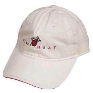 NBA MIAMI HEAT WHITE RED COTTON GARMENT WASHED HAT CAP