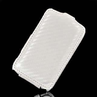 Carbon Leder Tasche Flip Case Hülle Schale + Folie für HTC Wildfire