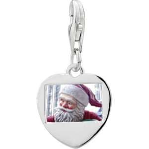 Sterling Silver Santa Statue Photo Heart Frame Charm Pugster Jewelry