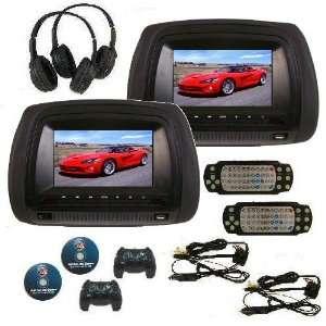 2x BLACK 7 Touch Screen Digital Car Headrest DVD Monitors