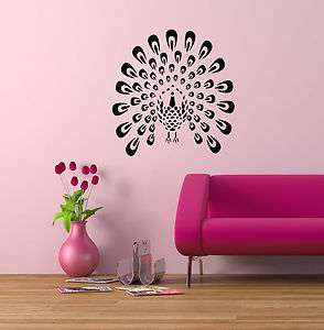 PEACOCK BIRD ANIMAL WALL VINYL STICKER DECALS ART MURAL D259