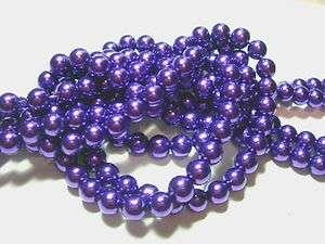 Metallic Purple 8mm Glass Pearls beads WOW 30 strand