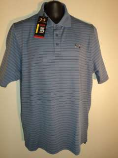 New Mens Under Armour Heatgear Golf POLO shirt LARGE BLUE FREE US