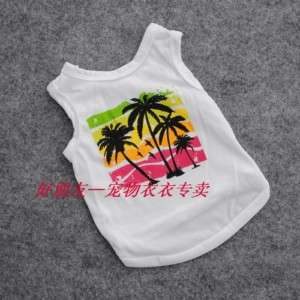 Cute Pet Dog Clothes Hawaiian palm T Shirt Vest S/M/L