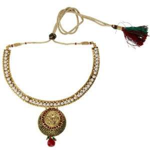 Exclusive Gold Plated Lakshmi Coin Necklace Studded with