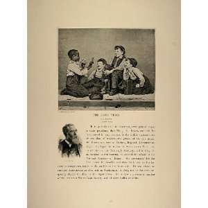 1893 Print Card Trick Boys Black Americana J. G. Brown