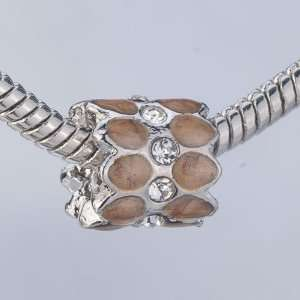 Brown Pattern Crystal Gift Beads Fits Pandora Charms