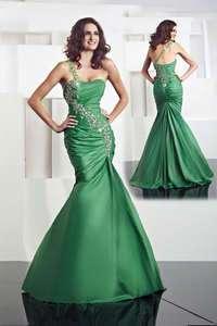 Custom One Shoulder Mermaid Taffeta Wedding Bridesmaid Prom