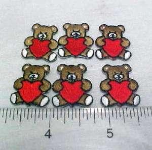 Vintage 6 TEDDY BEAR applique CHILDREN QUILT HEARTS